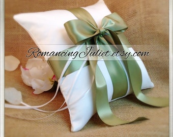 Romantic Satin Ring Bearer Pillow...You Choose the Colors...Buy One Get One Half Off...shown in white/sage green
