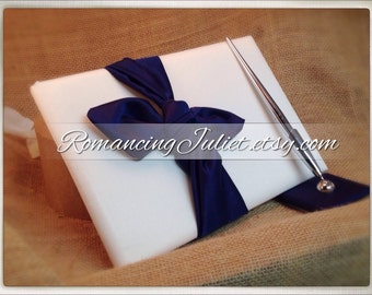 Knottie Style Satin Guest Book...You Choose The Colors..Shown in ivory/navy blue