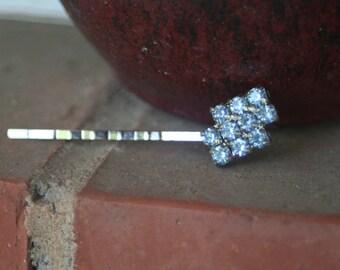 Something Blue Vintage Upcycled Rhinestone Hair Pin