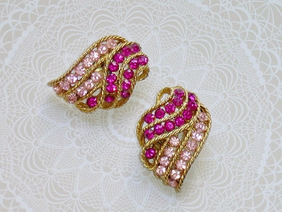 Weiss Pink Fuchsia Rhinestone Earrings, Channel Set Rows, Signed, Gold ...
