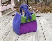 felted wool tote, small tote. purple lime turquoise tote