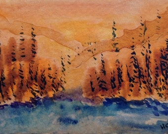 ACEO Original Watercolor Wilderness