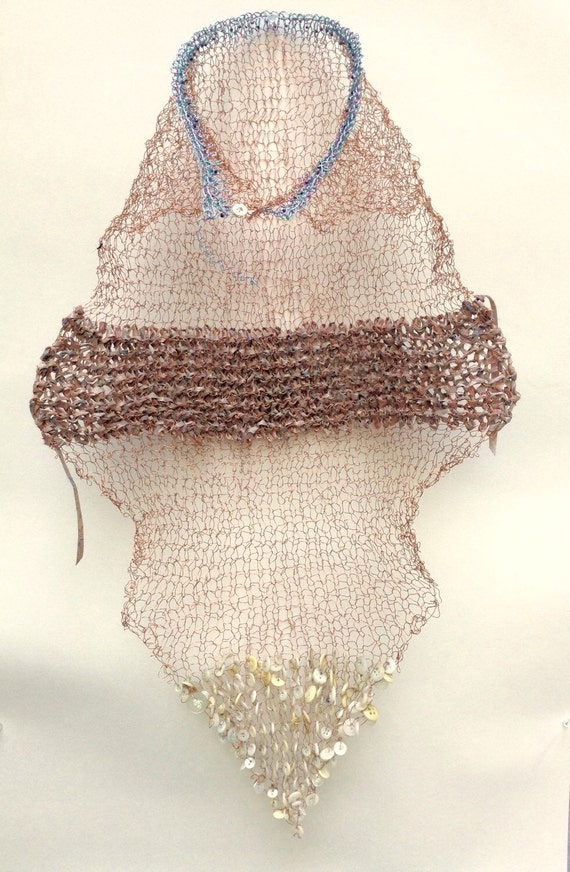 Unknown Crone Mantle knit wire sculptural wall hanging