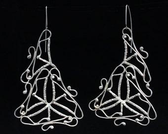 Very Long earrings, Sterling silver earrings, Contemporary jewelry, jewelry design,unique jewelry.