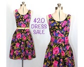 SALE! Vintage 80s Degas' Study Floral Dress