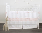 Convertible Crib Bumper/Teething guard - Essential collection - choose your fabric 32 colors / choose your piping & ties 25 colors