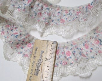 """Floral Double Ruffled Lace 4 yd Pink Teal Ivory Lace Trim 2"""" Gathered Sewing Yardage BTY Girls Pageant Dress Boho Square Dance Flower Ribbon"""