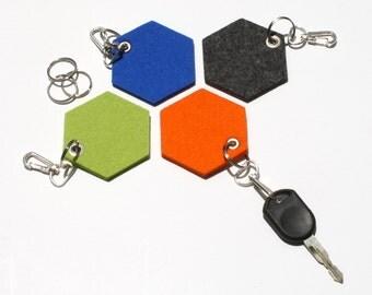 NEW! Hexagon Felt Key Fobs, Geometric Key chain, Keychains, Key Holders, Honeycomb Keyrings, Key Ring- set of 4