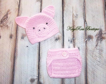 Newborn Baby Pink Crochet Pig Hat and Diaper Cover Set