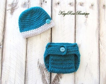 Newborn to 3 Month Old Baby Boy Hat and Diaper Cover Set Dark Teal and Gray Stripe