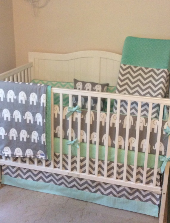 Crib Bedding Set Gray And Mint Green Made To Order