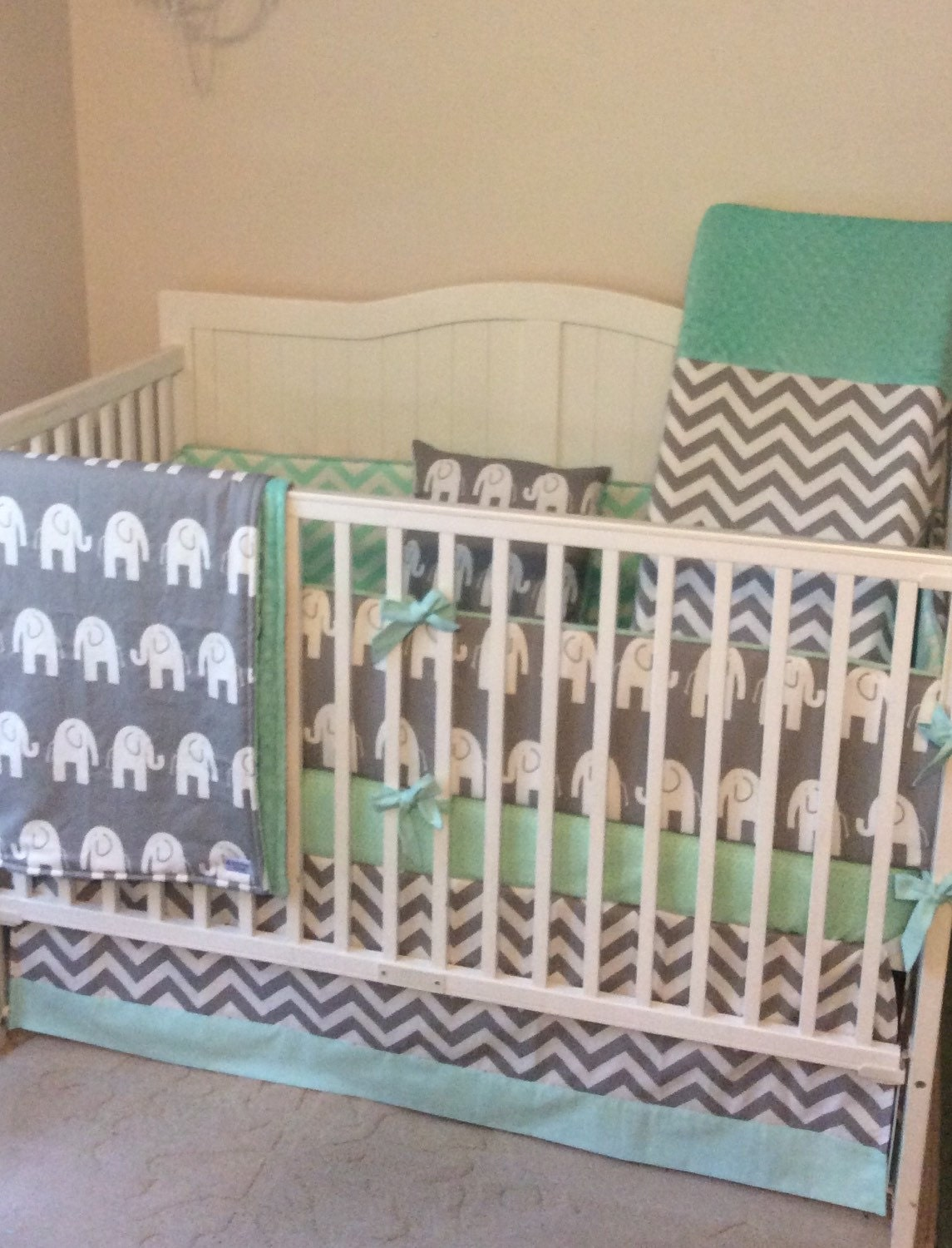 crib bedding set gray and mint green made to order. Black Bedroom Furniture Sets. Home Design Ideas