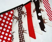 SOCK MONKEY Banner Bunnting, Boy's 1st Birthday Party Decoration in Red, Brown, White, Cream -- Photo Photography Prop -- cloth fabric flags