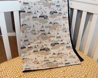 Indian Summer Teepee Blanket - Minky baby blanket