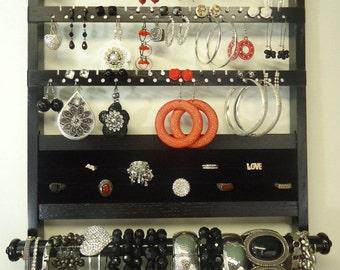 Gorgeous Ebony Jewelry Holder Deluxe, Solid Oak Hardwood Earring Holder, Bracelet Storage Necklace Organizer, Wall Mounted, Black Stain