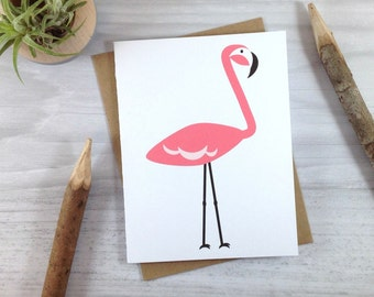 Pink Flamingo Card, All Occasion Greeting Card
