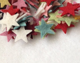 "50 Small 3/4"" Wool Felt Stars (mixed only)"