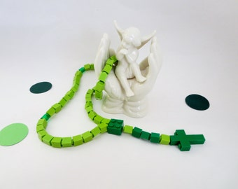 Catholic Rosary made of Lego Bricks -  Green Lego Bricks Rosary