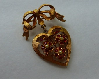 Vintage Bow & Heart Pin with Flowers 50s/60s rhinestones pearls