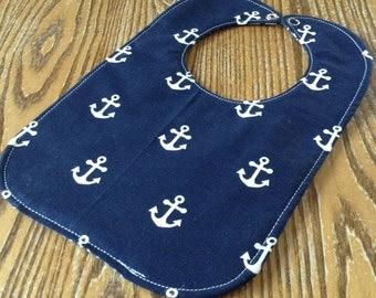 Reversible Baby Bib, Anchors, Nautical, Navy and White, Triple Layer, Snap Closure
