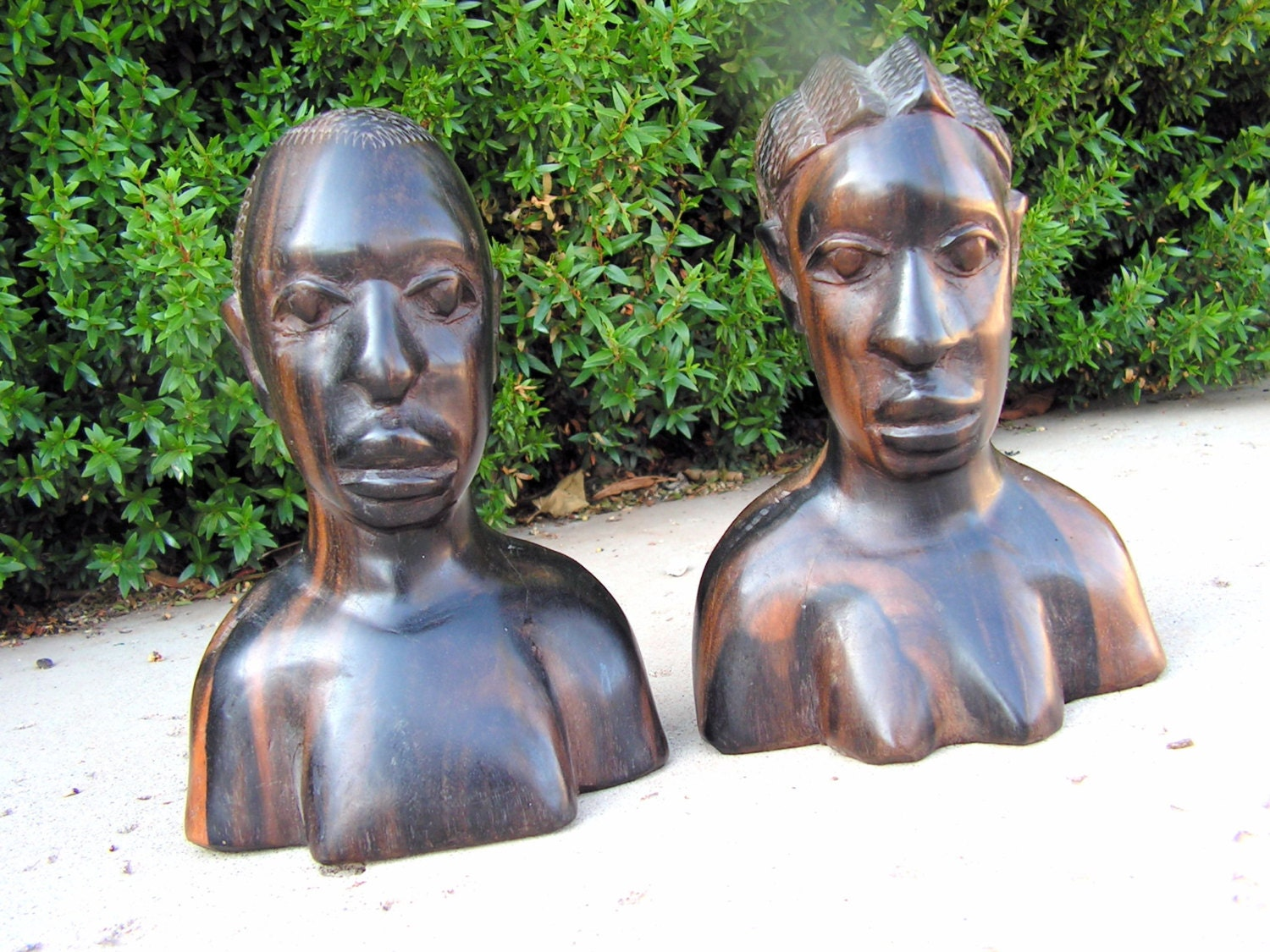 Vintage african bali wood carvings bust sculpture hand carved