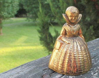 Vintage Brass Lady Bell--Made in England--Victorian--Shabby Cottage Figurine-Mid Century--English Collectible