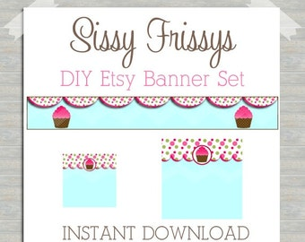 INSTANT DOWNLOAD - Premade Etsy Blank DIY Banner Set - Etsy Shop Banner Set - Etsy Banner Set - Etsy Kit - Cupcake Bakery - 239883464