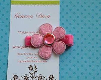 Pink Glitter Vinyl Flower Clip