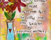 "Happy Birthday Mom ""5x7"" Blank Birthday Card with Envelope, Birthday Card for Mom, Wholesale Birthday Cards"