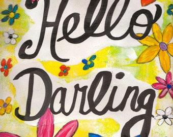 """Hello Darling 5""""x7"""" Blank All Occasion Card with Envelope, Hello Card, Hello Collection, Wholesale Greeting Cards, Hello Stationery"""