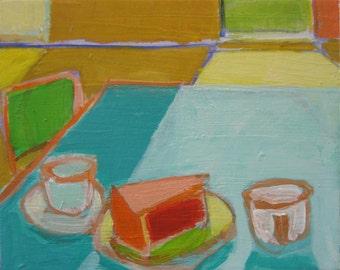 "Cake - Original Acrylic Oil Encaustic Still Life Painting - 10""x 8"""