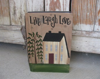Primitive Saltbox and Willow Tree Hand Painted Vintage Book GCC0773