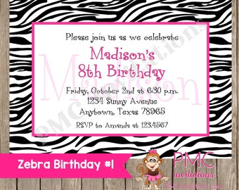 Custom Printed Zebra Birthday Invitations - 1.00 each with envelope