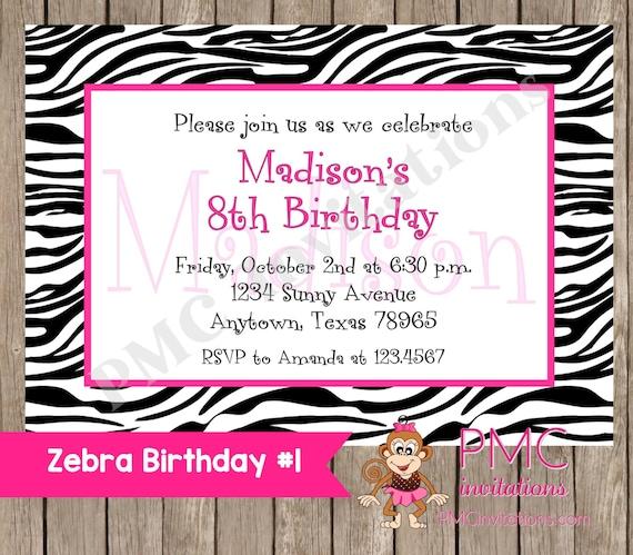 Custom Printed Zebra Birthday Invitations - 1.00 each with envelope
