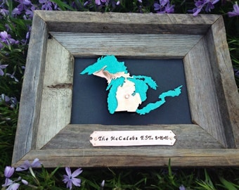 Great Lakes & Michigan Framed Artwork Personalized Location of the Hearts over the city of your choice