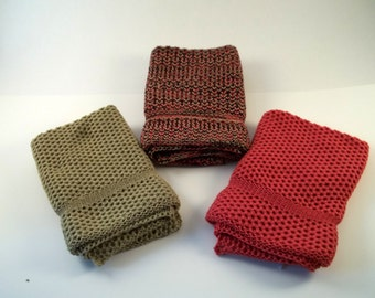 Dishcloths Knit in Cotton in Khaki Wildflower and BlackKhakiWildflower, Wash Cloth, Dish Cloth