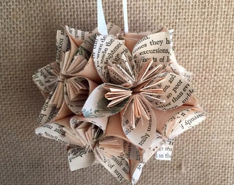 Little Women Book Small Paper Flower Pomander Ornament