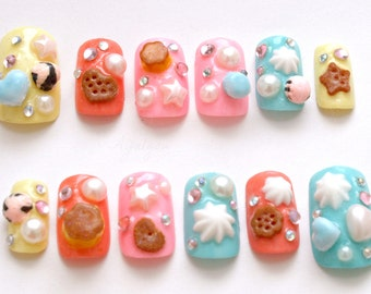 Japanese 3D nails, lolita accessory, Harajuku, Jfashion, pastel, fake sweets, miniature food, kawaii nail, deco nails, macaron, ice cream