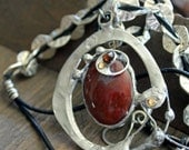 Red Jasper pendant, art jewelry, wearable art, contemporary jewelry, metal jewelry, chunky necklace