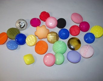 25 Large, Colorful, Shank Buttons, Lot 2672  (Free US Shipping)