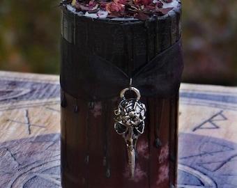 MORRIGAN Raven Warrior Goddess Fusion Pillar Candle w/ Red Garnet & Herbs - Dark Goddess, Raven, Faerie Queen, Avalonian, Celtic Druid Magic