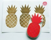 pineapple hand carved rubber stamp. tropical fruit stamp. summer craft projects. block printing. scrapbooking. gift wrapping. extra large