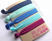 Frozen Hair Ties- Winter Hair Ties-  Christmas Hair Tie- Hair Ties-Cute Hair Ties- No Crease Hair Ties- Knotted Hair Ties- Ouchless Hair Tie