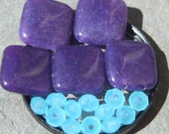 5 purple mountain jade and 12 aqua blue crystals
