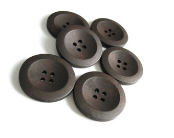Brown Wooden Sewing Buttons 30mm - set of 6 natural wood button  (BB229B)