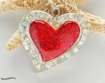 2 Fire Red Valentine Glitter Heart Pendants XL 31mm GK1687