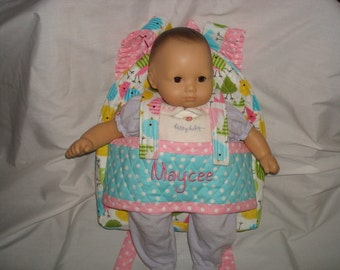 Baby  Doll Carrier in Robert Kaufman Zoologie Birds with polka dot accents