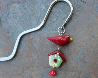 Spring Bird silver bookmark - red glass bird on birdhouse - great gift for readers -Free Shipping USA