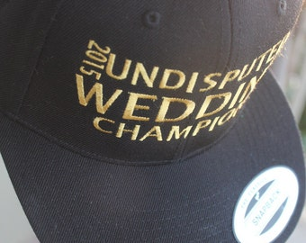 Wedding Champions, Wedding Party, Groomsman, Ring Bearer, Customized Embroidered Personalized Flatbill Snapback Baseball Cap Your Colors