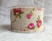 Burlap Ribbon - Roses - 50mm - 3 metre length - Printed Pink Roses